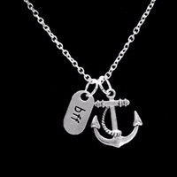 Anchor Bff Best Friends Friend Travel Long Distance Nautical Gift Necklace
