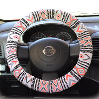 Steering-wheel-cover-wheel-car-accessories-Aztec-Neon-Orange-Steering-Wheel-Cover