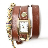 la mer - women's primary friendship bracelet watch (brown gold) - La Mer | 80's Purple