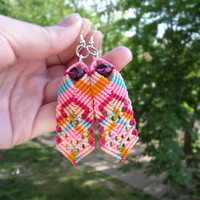 Bohemian micro macrame earrings - Spring Petals - Colorful Pink Orange Blue Dangle