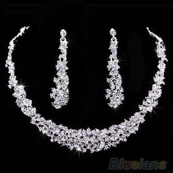 Fashion Wedding Bridal Prom Rhinestone Crystal Necklace Earrings Jewelry Set (Color: Silver) = 1931880900