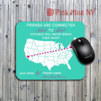 Personalized computer Mouse pad, gift idea, desk accessory -  Long Distance Relationship - Best Friends #2