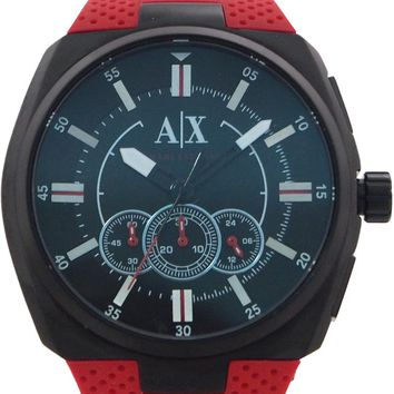 armani exchange - ax1803 chronograph black dial red silicone watch