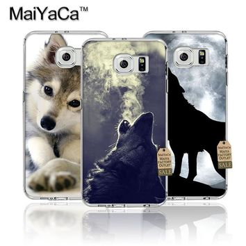 MaiYaCa Classic Cool Wolf Hipster Transparent TPU Soft Phone Accessories Case For Samsung s4 s5 s6 s6 edge s6 edge plus case