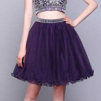 Sexy Two Piece Halter Tulle Sleeveless Short Cocktail Dresses Purple A Line Mini Backless Beaded Cocktail Dress