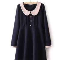 *Free Shipping* Dark Blue Cotton Dress With Button TBHTK1308db