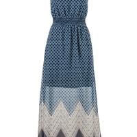 Patterned Maxi Dress With Peek-A-Boo Back - Blue Jasmine Combo