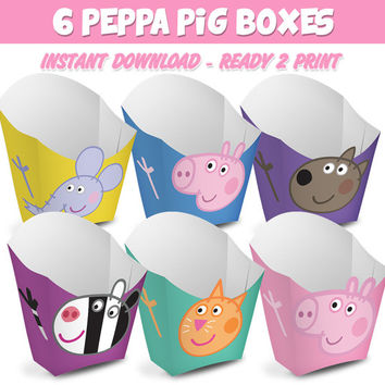 6 Popcorn Box Peppa Pig - Ready to print - Instant Download