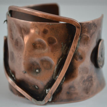 Abstract Rustic Copper Cuff, Rustic Jewelry, Hammered Copper Bracelet, Rustic Bangle, Copper Cuff, Copper Penney Jewelry,Handcrafted Jewelry