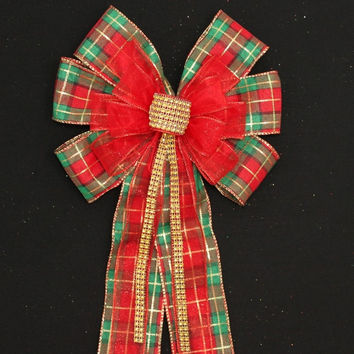 Plaid Red Sparkle Bling Christmas Bow