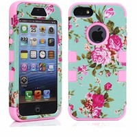 MagicSky Plastic + Silicone Tuff Dual Layer Hybrid Rose Flower On Green Case for Apple iPhone 5/5S - 1 Pack - Retail Packaging - Baby Pink