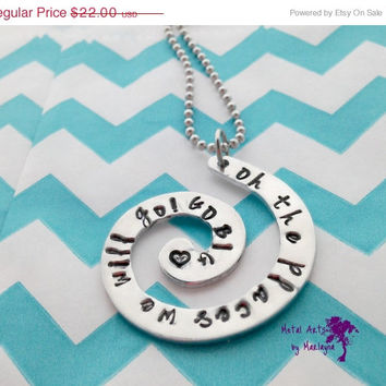 SALE Hand Stamped Necklace Dr. Seuss Quote Necklace Hand Stamped Swirl  Graduation Gift Celebration Necklace Mother's Day Sweetheart Necklac