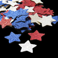 Fourth of July star confetti, patriotic decorations, Red White and Blue stars, glitter stars, Independence Day, July 4th party, 100 CT
