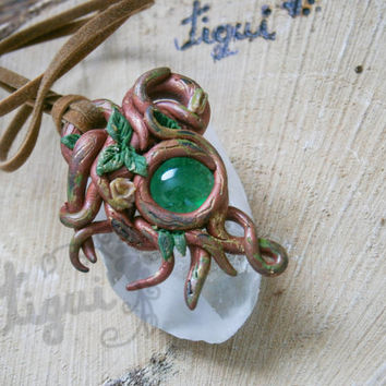 Woodland pendant , green amulet , root amulet, polymer clay pendant , wiccan, elven pendant , druid pendant , cosplay