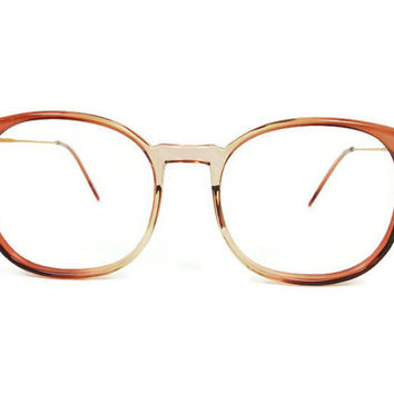 Vintage Eyeglass Frame | 1980s Clear Brown Round Oversize Glasses - March Brown