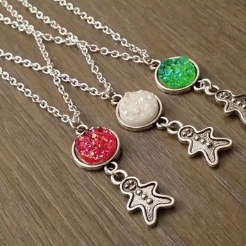 Silver tone gingerbread man druzy necklace (you pick)