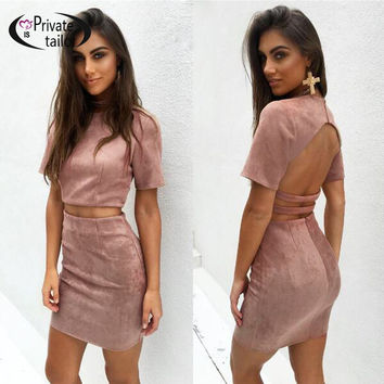 2016 Women Winter Suede Dress Set Skirt Short Sleeve Backless Crop Top Mini pencil skirts Bodycon 2 piece Dresses suit sets