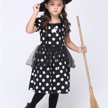 MOONIGHT Black Witch Cosplay Costumes Halloween Stage Performance Girl Costumes Vestido Tutu Dress Kids Carnival Party Outfit