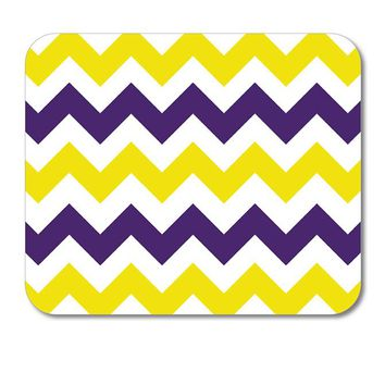 "DistinctInk Custom Foam Rubber Mouse Pad - 1/4"" Thick - Purple Yellow Chevron Stripes"