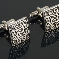 Artsy Silver Cufflinks with Abstract Design
