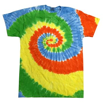 Tie Dye Multi Color Spiral Colorful Spring Time Kids T-Shirt