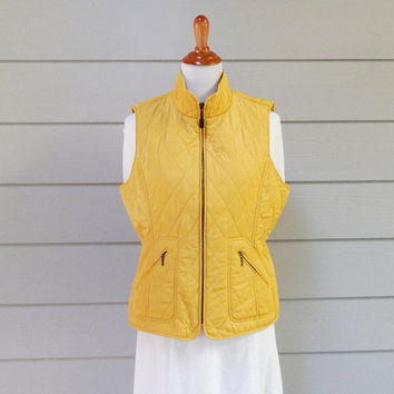 Vintage Talbots Quilted Yellow Vest, Large Petite