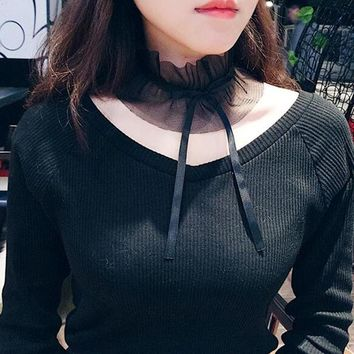 Wide Lace Sexy Women Chocker Necklaces Elegant Neck Accessories Soft Bowknot Tie for Girls Fashion Collar NT031
