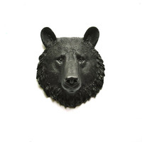 Faux Taxidermy Small Bear Head Wall Hanging Wall Decor in Brown-Black