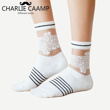 CHARLIE CAAMP 2018 Spring And Summer New Cotton Stripe Wild Series Ladies Crystal Lace Heap Socks 6001