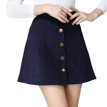 Saia 2016 Autumn vintage fashion corduroy high waist sexy mini skirt winter short a line skirts black gray casual skirts A802