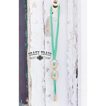 Turquoise Rustler Bolo Necklace by Crazy Train
