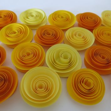 "Ombre Yellow paper flowers, 24 pieces set, 1.5"" roses, Baby shower decorations, Fall foliage colors, autumn wedding decor, Thanksgiving dinner centerpiece"
