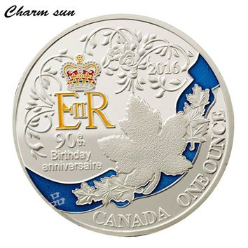 Queen 's 90th Anniversary Coin Canadian Maple Leaf Plated Silver Coins Home Party Decoration  Ladies Holiday Gifts