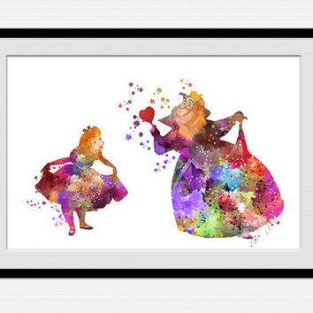 Alice in Wonderland art print Alice in Wonderland poster Queen of Hearts art decor Home decoration Kids room art Nursery room decor W543