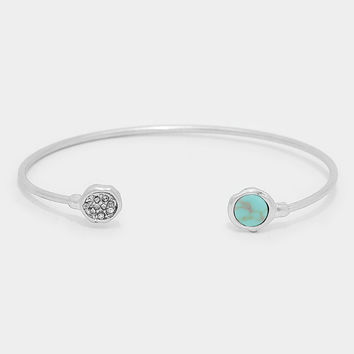 Circle Natural Stone Turquoise Cuff Bangle Bracelet - Silver