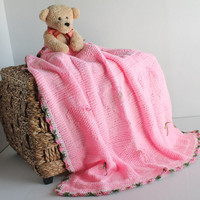 Pink Heart Knit Blanket - Pink Baby Girl Blanket - Toddler Blanket - Small Throw - Hand Knit Baby Blanket