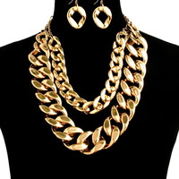 Gold Chain Link Double Chain Set