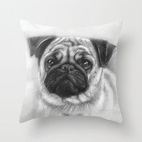 Cute Pug Throw Pillow by Olechka | Society6