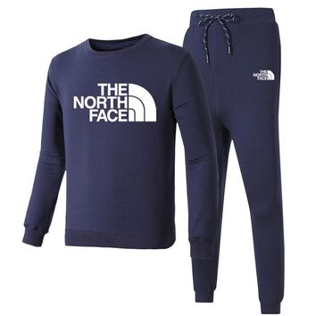 The North Face Autumn And Winter New Fashion Letter Print Long Sleeve Top And Pants Leisure Sports Women Men Two Piece Suit Navy Blue