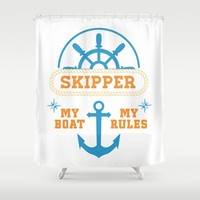 My Boat My Rules Shower Curtain by naumovski