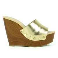 Mark and Maddux Asia-01 Slip-on Platform Wedge Sandal in Gold @ ippolitan.com