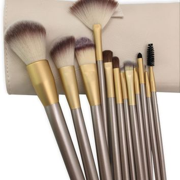 12Piece Makeup Brushes Set Professional Premium Synthetic/Horse Hair Brush Set Natural Cosmetic Kabuki Foundation Blending Blush Concealer Eyeliner Face Powder Kit with Case Bag