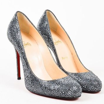 "Christian Louboutin $3095 ""Fifi Strass"" Gray Crystal Pumps SZ 38.5"