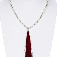 NECKLACE / LONG TASSEL / PEARL/ 28 INCH LONG / 6 1/4 INCH DROP / NICKLE AND LEAD COMPLIANT