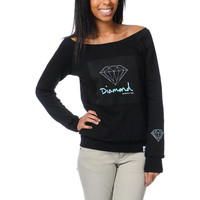 Diamond Supply Girls OG Script Black Crew Neck Sweatshirt