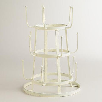 Vintage Style White Industrial French Farmhouse Iron Mug / Cup / Glass Bottle Organizer Tree Drying Rack Stand