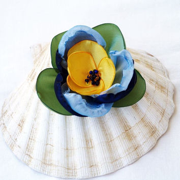 Flower Pin Brooch, Yellow Green Blue, Handmade Silk Flower, Small Flower Brooch, Millinery Flower, Floral Headpiece, Hat Flower, Gift Idea