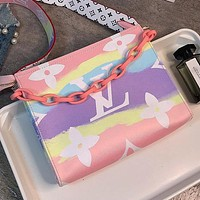 LV Louis Vuitton New Rainbow Colorblock Lettering Women's Cosmetic Bag Shoulder Bag