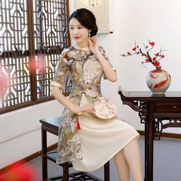 Vintage Rayon Traditional Simple  Lady Floral Qipao Summer Sexy Short Cheongsam Midi Dress