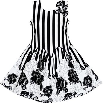 Sunny Fashion Girls Dress Sleeveless Black White Stripes Flower Bow Tie Cotton 2018 Summer Princess Wedding Party Size 7-14